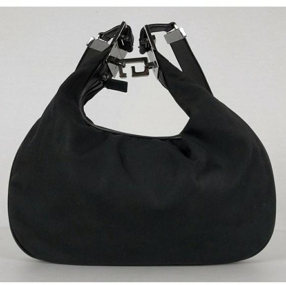3f2851825b0 Gucci Handbags - Vintage Gucci Black Nylon Hobo Bag with G Clasp